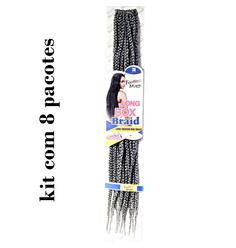 Cabelo Sintético FreeTress Box Braid Medium com 8 pacotes - Lili Hair