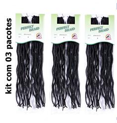 Cabelo Sintético Perfect Braid Soft Wavy Faux Loc com 03 pacotes - Lili Hair