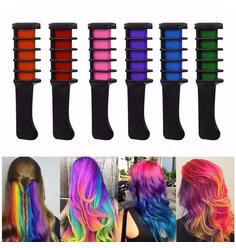 Modelador Pente Giz Para Cabelo Color 6 cores  - Lili Hair